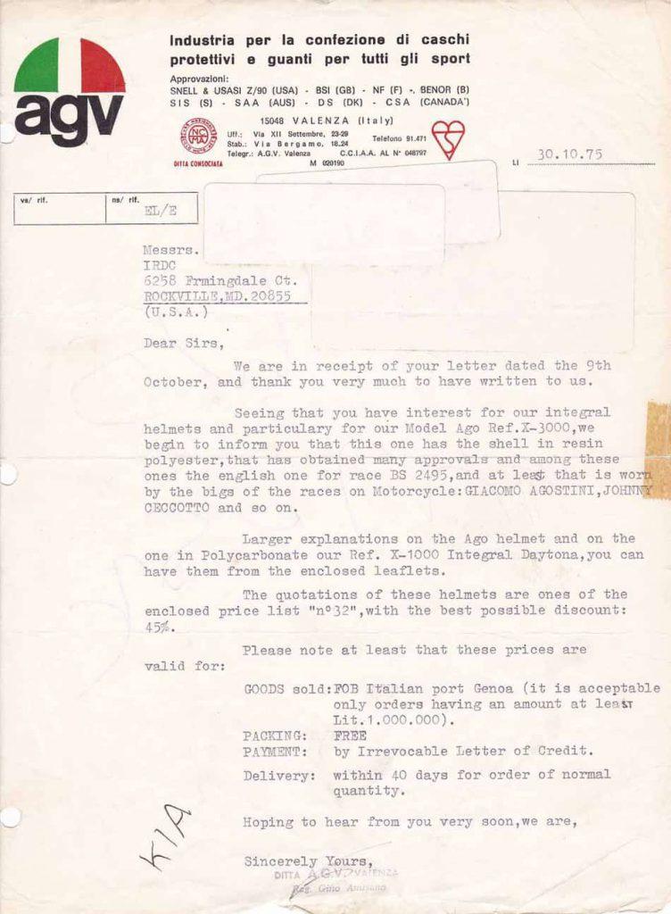 original-AGV-Italy-Letter-1975