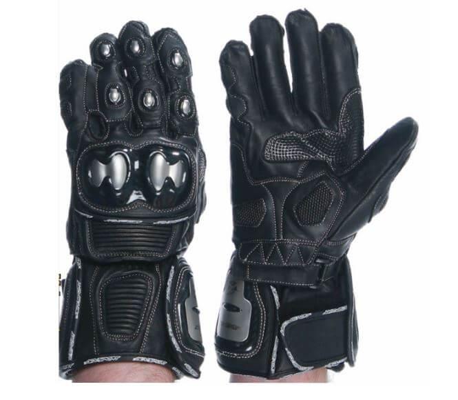 AGVSPORT-Echelon-Motorcycle-Leather-Gloves-Black-Semi-Gauntlet-Gloves